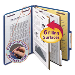 Smead® Six-Section Colored Pressboard Top Tab Classification Folders with SafeSHIELD® Coated Fasteners