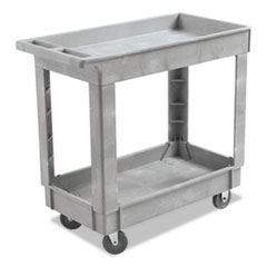 Boardwalk® Utility Cart, Two-Shelf, 16w x 34d, Swivel Casters, Resin, Gray