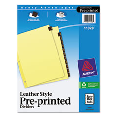 Preprinted Red Leather Tab Dividers w/Clear Reinforced Edge, 12-Tab, Ltr