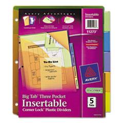Avery® Insertable Big Tab Plastic Three-Pocket Corner Lock Dividers, 5-Tab, 11.13 x 9.25, Assorted, 1 Set