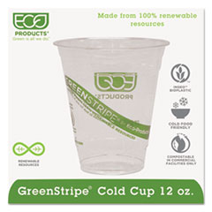 Eco-Products® GreenStripe Renewable & Compostable Cold Cups - 12oz., 50/PK, 20 PK/CT