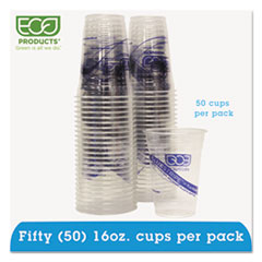 Eco-Products® BlueStripe 25% Recycled Content Cold Cups Convenience Pack, 16 oz, 50/Pk