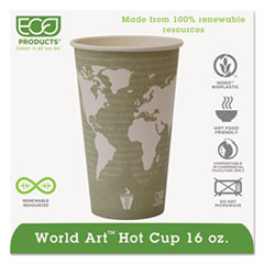 Eco-Products® World Art Renewable Compostable Hot Cups, 16 oz., 50/PK, 20 PK/CT