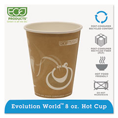 Eco-Products® Evolution World 24% Recycled Content Hot Cups - 8oz., 50/PK, 20 PK/CT