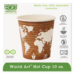Eco-Products® World Art Renewable Compostable Hot Cups, 10 oz., 50/PK, 20 PK/CT