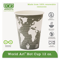 Eco-Products® World Art Renewable Compostable Hot Cups, 12 oz., 50/PK, 20 PK/CT