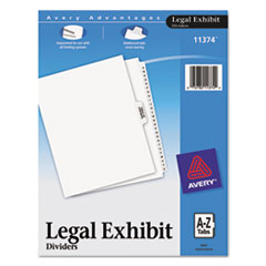Avery® Avery-Style Legal Exhibit Side Tab Divider, Title: A-Z, Letter, White