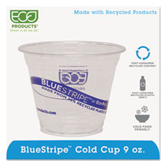 Eco-Products® BlueStripe 25% Recycled Content Cold Cups, 9 oz., Clear/Blue, 50/Pk, 20 Pk/Ct