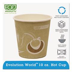 Eco-Products® Evolution World 24% Recycled Content Hot Cups - 10oz., 50/PK, 20 PK/CT