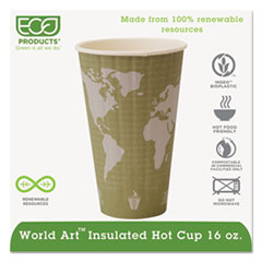 Eco-Products® World Art Renewable and Compostable Insulated Hot Cups, PLA, 16 oz, 40/Packs, 15 Packs/Carton