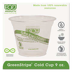 Eco-Products® GreenStripe Renewable & Compostable Cold Cups - 9oz., 50/PK, 20 PK/CT