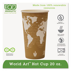Eco-Products® World Art Renewable and Compostable Hot Cups, 20 oz, 50/Pack, 20 Packs/Carton