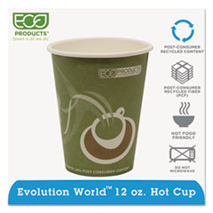 Eco-Products® Evolution World 24% Recycled Content Hot Cups - 12oz., 50/PK, 20 PK/CT