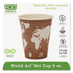 Eco-Products® World Art Renewable Compostable Hot Cups, 8 oz., 50/PK, 20 PK/CT