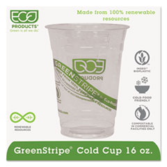 Eco-Products® GreenStripe Renewable & Compostable Cold Cups - 16oz., 50/PK, 20 PK/CT