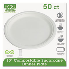 """Eco-Products® Compostable Sugarcane Dinnerware, 10"""" Plate, Natural White, 50/Pack, 10 Pk/Ctn"""