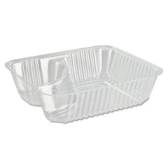 Dart® ClearPac Small Nacho Tray, 2-Compartments, 5 x 6 x 1.5, Clear, 125/Bag, 2 Bags/Carton