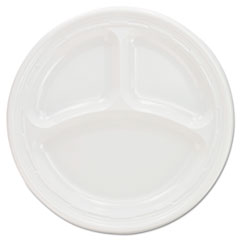 Dart® Plastic Plates, 9 Inches, White, 3 Compartments, Round, 125/Pack