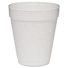 Dart® Small Foam Drink Cup, 8oz, Hot/Cold, White w/Greek Key Design, 25/Bag, 40Bg/Ctn