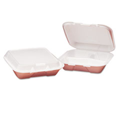 Genpak® Foam Hinged Carryout Container, 3-Compartment, 8-4/9x7-5/8x2-3/8, White, 100/Bag