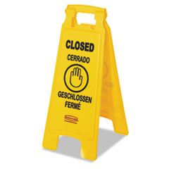 "Rubbermaid® Commercial Multilingual ""Closed"" Sign, 2-Sided, Plastic, 11w x 12d x 25h, Yellow"