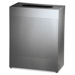 Rubbermaid® Commercial Designer Line Silhouettes Receptacle, Square, Steel, 40 gal, Silver