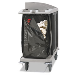 "Rubbermaid® Commercial Zippered Vinyl Cleaning Cart Bag, 25 gal, 17"" x 33"", Brown"