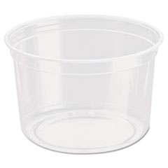 "Dart® Bare Eco-Forward RPET Deli Containers, 16 oz, 4.6"" Diameter x 3""h, Clear, 500/Carton"