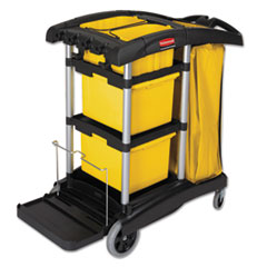 Rubbermaid® Commercial HYGEN™ HYGEN M-fiber Healthcare Cleaning Cart, 22w x 48.25d x 44h, Black/Yellow/Silver