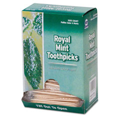 "AmerCareRoyal® Mint Cello-Wrapped Wood Toothpicks, 2 1/2"", Natural, 1000/Box, 15 Boxes/Carton"