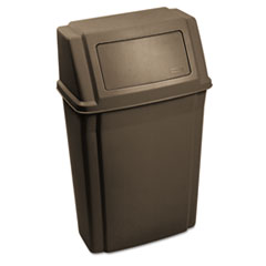 Slim Jim Wall-Mounted Container, Rectangular, Plastic, 15 gal, Brown