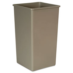 Rubbermaid® Commercial Untouchable Square Waste Receptacle, Plastic, 50 gal, Beige