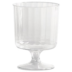 Classic Crystal Plastic Wine Glasses on Pedestals, 5 oz, Clear, Fluted, 10/Pack, 24 Packs/Carton
