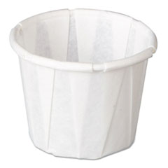 Genpak® Squat Paper Portion Cup, Pleated, .5oz, White, 250/Sleeve, 20 Sleeve/Carton