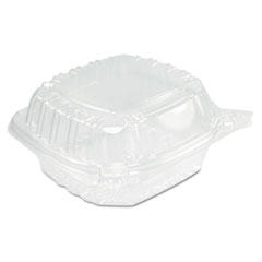Dart® ClearSeal Hinged-Lid Plastic Containers, Sandwich Container,13.8 oz, 5.4 x 5.3 x 2.6, Clear, 500/Carton