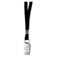 "Deluxe Lanyards, Clip Style, 36"" Long, Black, 24/Box"