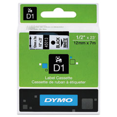 "D1 High-Performance Polyester Removable Label Tape, 0.5"" x 23 ft, Black on White"