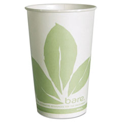 SOLO® Cup Company Bare Eco-Forward Treated Paper Cold Cups, 16 oz, Green/White, 100/Sleeve 10 Sleeves/Carton