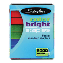 "Swingline® Color Bright Staples, 0.25"" Leg, 0.5"" Crown, Assorted, 6,000/Pack"