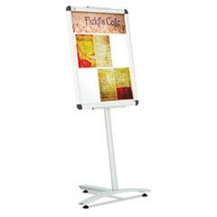 """Quartet® Improv Lobby Clip-Frame Pedestal Sign, 18 x 24 Frame, 54"""" High, Aluminum"""