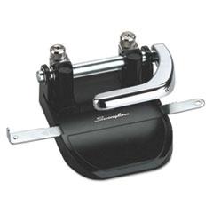 """Swingline® 40-Sheet Heavy-Duty Steel Two-Hole Punch, 1/4"""" Holes, Steel, Black/Chrome"""
