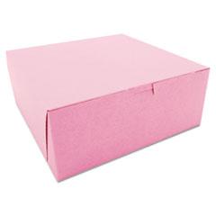 SCT® Non-Window Bakery Boxes, 10 x 10 x 4, Pink, 100/Carton