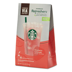 Starbucks® VIA Refreshers, Strawberry Lemonade, 4.16 oz Pack, 6/Box