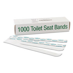 "Bagcraft Sani/Shield Printed Toilet Seat Band, Paper, Blue/White, 16"" Wide x 1.5"" Deep, 1,000/Carton"