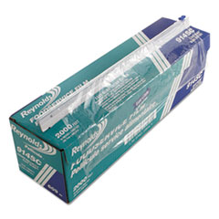 "PVC Food Wrap Film Roll in Easy Glide Cutter Box, 18"" x 2000 ft, Clear"