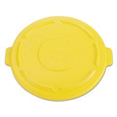 Rubbermaid® Commercial Vented Round BRUTE Flat Top Lid, 24.5w x 1.5h, Yellow
