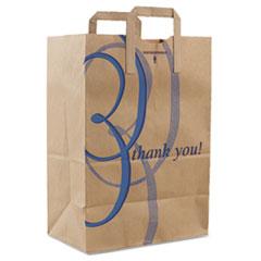 "Duro Bag Stock Thank You Handle Bags, 12"" x 17"", Brown, 300/Carton"