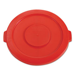 "Rubbermaid® Commercial Round Flat Top Lid, for 32 gal Round BRUTE Containers, 22.25"" diameter, Red"