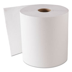 "GEN Hardwound Roll Towels, White, 8"" x 800 ft, 6 Rolls/Carton"