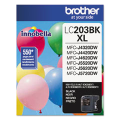 Brother LC203BK Innobella High-Yield Ink, 550 Page-Yield, Black